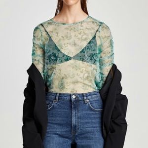 ZARA tulle Floral shirt w gathered sleeves M